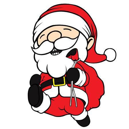 cel: Cute cel-shaded flat vector cartoon illustration of santa clause running  Illustration