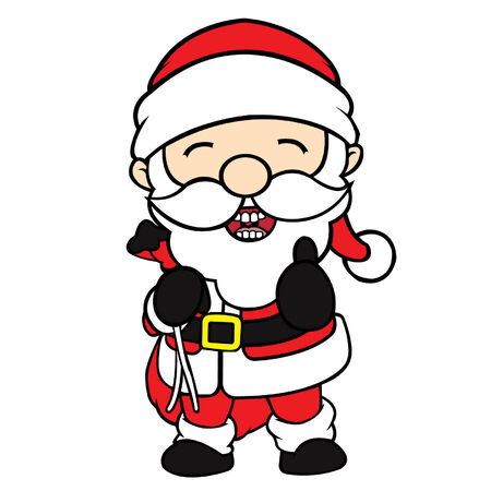 cel: Cute cel-shaded flat vector cartoon illustration of santa clause in thumbs up