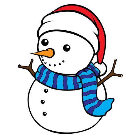 Cute cel-shaded flat vector cartoon illustration of a snow man  Illustration