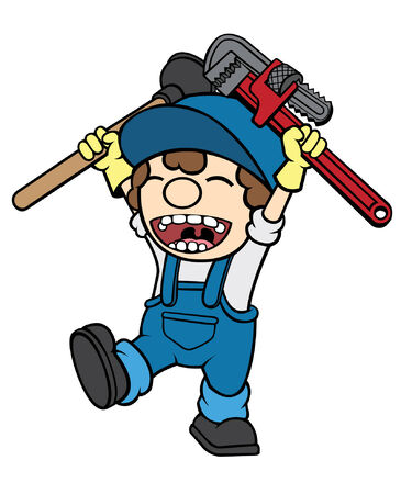 Cute cel-shaded flat vector cartoon illustration of a happy plumber holding a pipe wrench and plunger  Vector