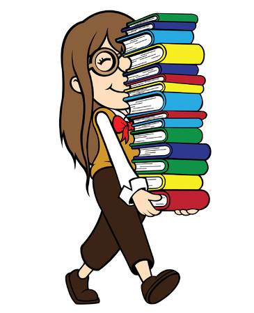 carrying girl: Cute cel-shaded flat vector cartoon illustration of a happy nerd girl carrying pile of books  Illustration