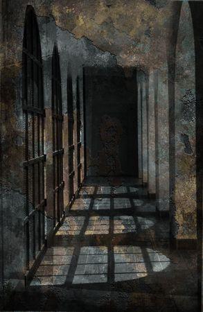 Gothic Stone Hallway Background photo