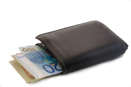 payee: Black Leather Bi-Fold Wallet on a White Background Stock Photo
