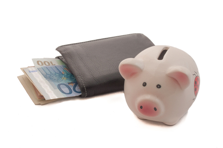 payee: Black Leather Bi-Fold Wallet and a Piggy Bank on a White Background