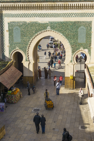 bab: The Blue Gate (Bab Bou Jeloud gate) in Fez, Morocco