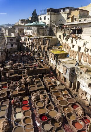fez: Old Tannery Chouwara in Fez Morocco Editorial
