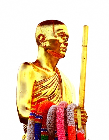The Golden Monk Statue in ChiangMai temple, Thailand. Stock Photo