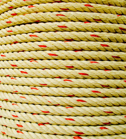 Rope coil makes of the fiber plants or Jute. there is the toughness , Thai likes to use tie goods. this picture shows the surface , and , Texture. Stock Photo