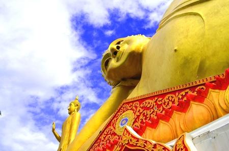 Big Reclining Buddha Statue at ChiangMai, TH.  Stock Photo