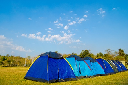 Stay by tent at Sankamphaeng hot fountain, Chiangmai province Thailand. Stock Photo