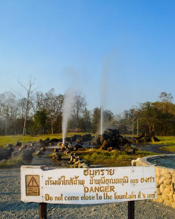 Hot fountain in Chiangmai, Thailand. (SanKamphaeng hot fountain) Chiangmai province, Thailand. photo