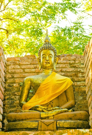 wat jedyod: Golden buddha image in the temple at Chiangmai.