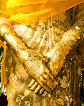 The hand of Golden buddha image. Stock Photo