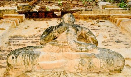 The guardian deity or angel stucco on ancient pagoda at wat jedyod Chiangmai, Thailand. Stock Photo