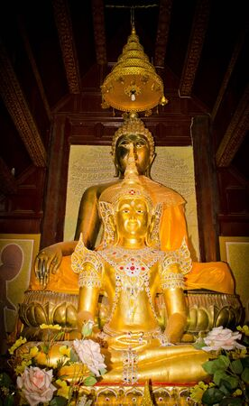 wat jedyod: Thai Lanna or Chiangmai Moral in the JedYod temple. Stock Photo