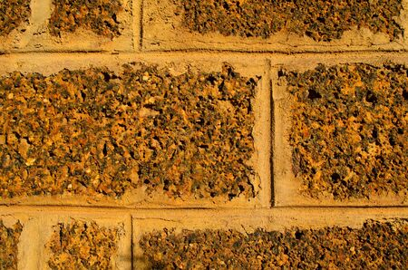 • The Ancient Laterite wall of Jedyod temple, Thailand. Stock Photo