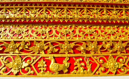 Thai Lanna style temple wall in Wat Jedyod at Chiangmai, Thailand. photo
