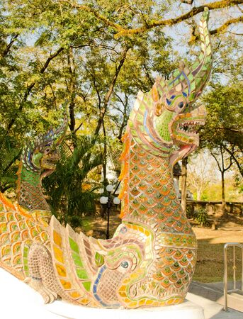 • King of Nagas in the Chiangmai temple.(Wat Jedyod) photo