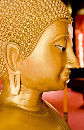 wat jedyod: The Golden Buddha Statue in ChiangMai,TH.(Wat Jedyod) Stock Photo