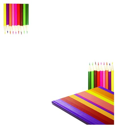 Multicolored pencil and Notebook on white background  Stock Photo