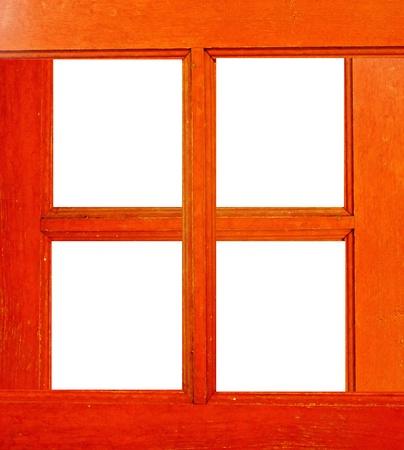 Wooden frame the windows on white