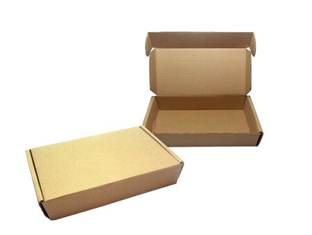 Opened and Closed  brown paper box on white background                                         Stock Photo