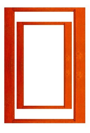 Wooden frame windows on white  photo