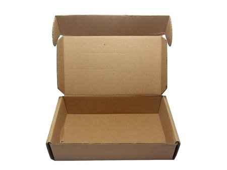 Opened brown paper box on white background