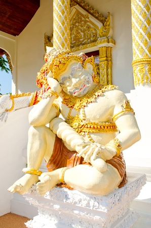 Thai ancient antique giant in the temple  Stock Photo