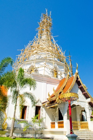 wat jedyod:   Bamboo Structure for Repair pagoda in Chiangmai, Thailand