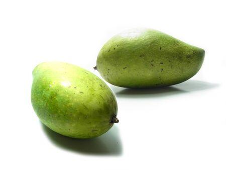 Thai green mango on White