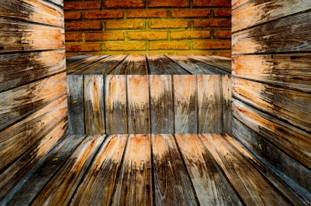 9675; wooden and brick wall in perspective  background  Stock Photo