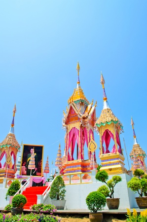 rajasuda: The  crematory model    established at SuanDok temple  Chiangmai Thailand, for Chiangmai people   to Joint  the Royal of Cremation ceremony of HRH Princess Bejaratana Rajasuda on April 9,2012. Editorial