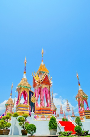 The  crematory model    established at SuanDok temple  Chiangmai Thailand, for Chiangmai people   to Joint  the Royal of Cremation ceremony of HRH Princess Bejaratana Rajasuda on April 9,2012. Editorial