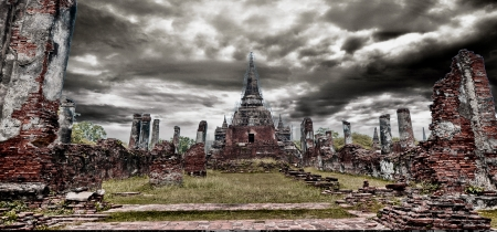 Art picture of Ancient temple in AYUTTHAYA