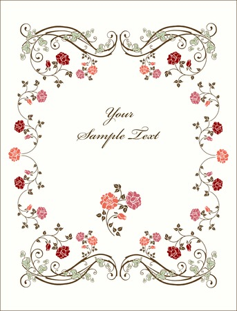 Retro frame with roses. Stock Vector - 5461017