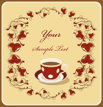 taza de café roja en el marco de flral. Consulte mi cartera para obtener más versiones / Ilustración de vector