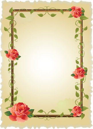 vintage frame with roses and creeping plant Vector