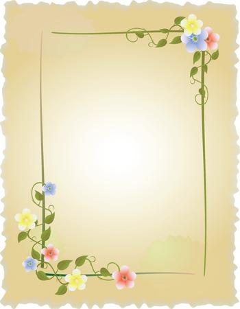 aniversario: marco vintage con flores Vectores