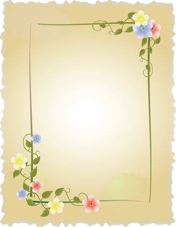 anniversary: vintage frame with flowers Illustration