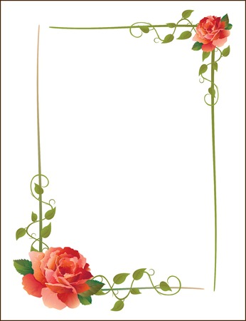 twig: vintage frame with roses and creeping plant Illustration