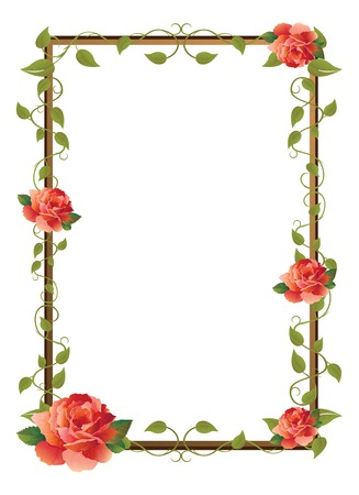 creeping plant: frame for picture with rose Illustration