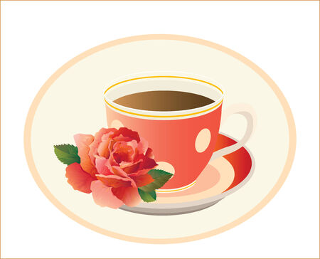 cup of tea with rose Vector