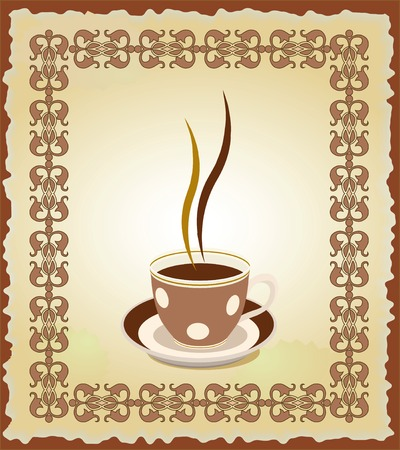 Illustration of cup of tea in the eastern  frame. Illustration