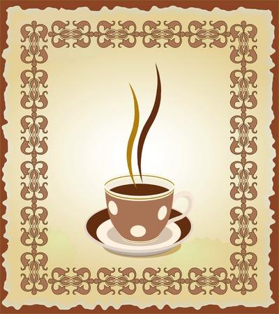 Illustrazione di una tazza di t� nel frame orientale.