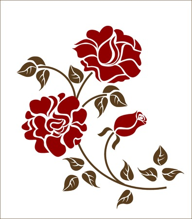 flores vintage: red roses on the white backgroud. Please check my portfolio for more versions