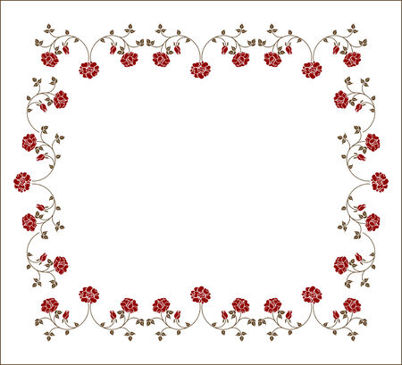 Retro frame with roses. Please check my portfolio for an other versions. Vector