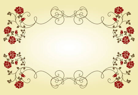 flor: Retro frame with roses. Please check my portfolio for an other versions.