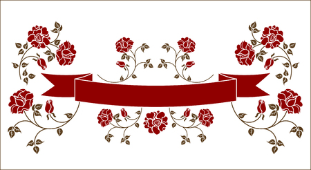 Ribbon with roses. Please check my portfolio for an other versions  Stock Vector - 5893947
