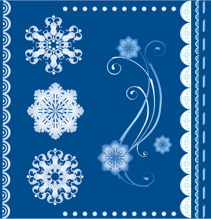 scalloped: set of  the winter design elements Illustration